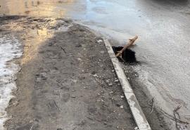 В Омске у бульвара Победы в асфальте образовалась зияющая бездна